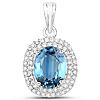 2.62 Carat Genuine Blue Sapphire and White Diamond 14K White Gold Pendant