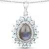 7.93 Carat Genuine Labradorite, Blue Topaz and White Zircon .925 Sterling Silver Pendant