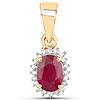 0.62 Carat Genuine Ruby and White Diamond 14K Yellow Gold Pendant