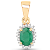 0.50 Carat Genuine Zambian Emerald and White Diamond 14K Yellow Gold Pendant