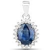 2.50 Carat Genuine Blue Sapphire and White Diamond 14K White Gold Pendant