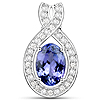14K White Gold 2.57 Carat Genuine Tanzanite and White Diamond Pendant
