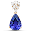 11.79 Carat Genuine Tanzanite and White Diamond 18K Yellow Gold Pendant