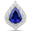 13.25 Carat Genuine Tanzanite and White Diamond 18K White Gold Pendant