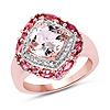 """14K Rose Gold Plated 3.11 Carat Genuine Morganite, Pink Tourmaline & White Topaz .925 Sterling Silver Ring"""