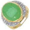 14K Yellow Gold Plated 11.33 Carat Genuine Prehnite & White Topaz .925 Streling Silver Ring