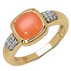 14K Yellow Gold Plated 2.10 Carat Genuine Moonstone & White Diamond .925 Sterling Silver Ring