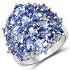 5.64 Carat Genuine Tanzanite & White Topaz .925 Sterling Silver Ring