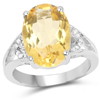 5.05 Carat Genuine Citrine and White Diamond .925 Sterling Silver Ring