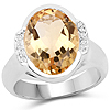 5.05 Carat Genuine Citrine and White Diamond .925 Sterling Silver Ring