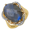 14K Yellow Gold Plated 10.86 Carat Genuine Labradorite & White Topaz .925 Streling Silver Ring