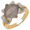 14K Yellow Gold Plated 3.32 Carat Genuine Labradorite & White Topaz .925 Sterling Silver Ring