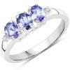 1.00 Carat Genuine Tanzanite & White Diamond .925 Sterling Silver Ring