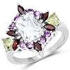 3.25 Carat Genuine Multi Stone .925 Sterling Silver Ring