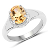 1.83 Carat Genuine Citrine and White Topaz .925 Sterling Silver Ring