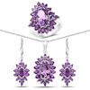 """""""14.28 Carat Genuine Amethyst .925 Sterling Silver 3 Piece Jewelry Set (Ring, Earrings, and Pendant w/ Chain)"""""""