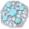 6.18 Carat Genuine Turquoise and Blue Topaz .925 Sterling Silver Ring