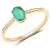 0.49 Carat Genuine Zambian Emerald and White Diamond 14K Yellow Gold Ring