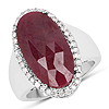 9.18 CaratGenuine Ruby andand White Diamond .925 Sterling Silver Ring
