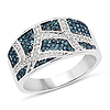0.68 Carat Genuine Blue Diamond and White Diamond .925 Sterling Silver Ring