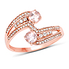 0.70 Carat Genuine Morganite and White Diamond 14K Rose Gold Ring