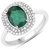 1.97 Carat Genuine Zambian Emerald and White Diamond 14K White Gold Ring