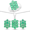 """""""6.60 Carat Genuine Zambian Emerald .925 Sterling Silver 3 Piece Jewelry Set (Ring, Earrings, and Pendant w/ Chain)"""""""