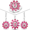 """""""11.10 Carat Genuine Ruby and White Topaz .925 Sterling Silver 3 Piece Jewelry Set (Ring, Earrings, and Pendant w/ Chain)"""""""