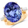 18.41 Carat Genuine Tanzanite and White Diamond 18K Yellow Gold Ring
