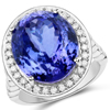 18.50 Carat Genuine Tanzanite and White Diamond 18K White Gold Ring