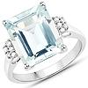 5.22 Carat Genuine Aquamarine and White Diamond 14K White Gold Ring
