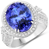 11.01 Carat Genuine Tanzanite and White Diamond 18K White Gold Ring