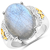 10.56 Carat Genuine Labradorite and White Diamond 14K Yellow Gold with .925 Sterling Silver Ring