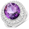 8.41 Carat Genuine Amethyst and White Topaz .925 Sterling Silver Ring