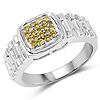 0.25 Carat Genuine Yellow Diamond .925 Sterling Silver Ring