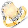 3.15 Carat Genuine Ethiopian Opal and White Diamond 14K Yellow Gold Ring