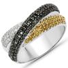 0.74 Carat Genuine Multi Diamond .925 Sterling Silver Ring