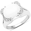 2.82 Carat Genuine Opal and White Topaz .925 Sterling Silver Ring