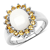 2.45 Carat Genuine Opal & Citrine .925 Streling Silver Ring