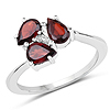 1.37 Carat Genuine Garnet and White Topaz .925 Sterling Silver Ring