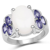 4.70 Carat Genuine Opal and Tanzanite .925 Sterling Silver Ring