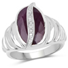 6.41 Carat Genuine Indian Ruby15x9mm - 1Pcs and White Diamond Brass Ring