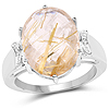 9.42 Carat Genuine Golden Rutile and White Topaz .925 Sterling Silver Ring