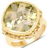 14K Yellow Gold Plated 8.78 Carat Genuine Lemon Quartz Brass Ring
