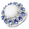 4.25 Carat Genuine Ethiopian Opal, Tanzanite & White Topaz .925 Sterling Silver Ring