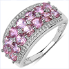 2.00 Carat Genuine Pink Sapphire & White Topaz .925 Sterling Silver Ring