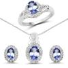 2.46 Carat Genuine Tanzanite and White Topaz .925 Sterling Silver Jewelry Set