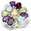 5.15 Carat Genuine Multi Stone .925 Sterling Silver Ring