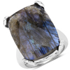 17.17 Carat Genuine Labradorite and White Topaz .925 Sterling Silver Ring