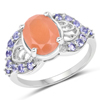3.06 Carat Genuine Peach Moonstone and Tanzanite .925 Sterling Silver Ring